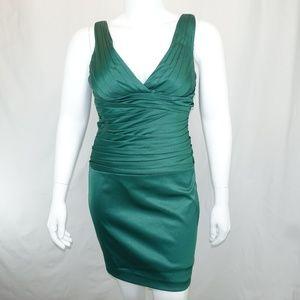 Cachè Emererald Green Ruched Evening Event Dress
